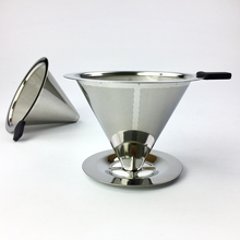 Double Layer Stainless Steel Coffee Filter Holder Pour Over Dripper Reusable Mesh Basket V60 Drip Tea Tools
