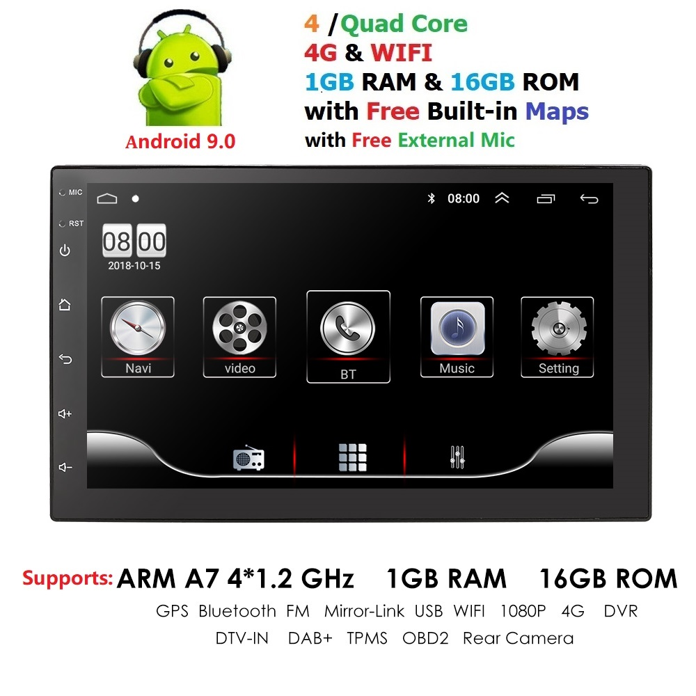 2 Din Car Radio Android 9.0 Universal 7 Inch Touch Screen Car Audio Stereo Bluetooth Wifi FM USB Car Multimedia MP5 MIC DAB+ DVR