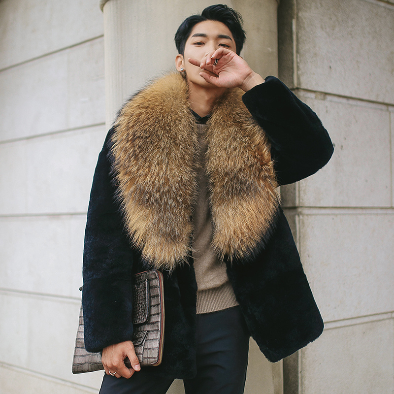 Natural Rex Rabbit Fur Coat Men Winter Jacket Big Raccoon Fur Collar Men's Real Fur Coat Genuine Leather Jackets Lw-16122 KJ3332 фото