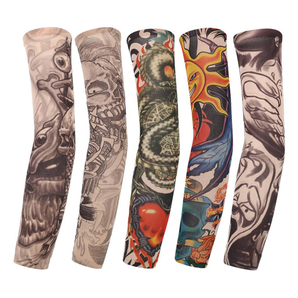 10Pcs Unisex Outdoor Sports Tattoo Seamless UV Sun Protection Arm Cover Sleeves Cycling Driving Costume Dress