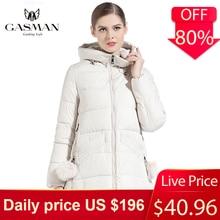 女性冬コートフード付き肥厚ファッションダウンジャケットブランド女性防風付きバイオダウンパーカー Gasman 18833 2019