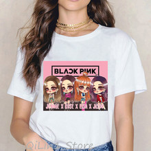 Wysokiej jakości czarna koszulka w stylu k-pop kobiety harajuku kawaii LISA JISOO JENNIE róża 90s vogue hip hop rock t koszula femme streetwear(China)