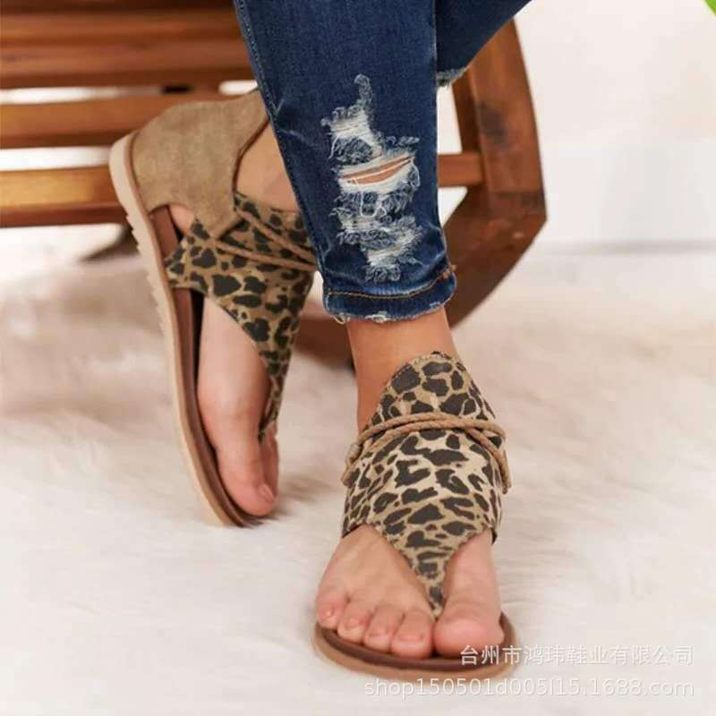 Summer Women Shoes Flat Beach Sandals Ladies Fashion Roma Flat Solid Peep Toe Sandals Casual Shoes Sandales Leopard Print