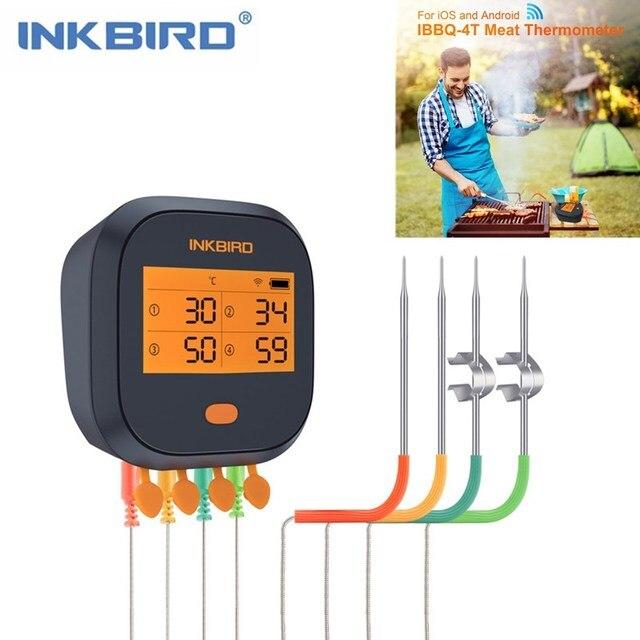 Inkbird wi fi肉デジタル温度計IBBQ 4Tバーベキュー温度計 4 プローブ 2000 3600mahの充電式バッテリーキッチン喫煙グリル
