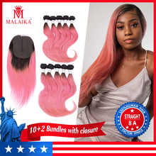 MALAIKA Peruvian Straight Human Hair 10 Bundles With Lace Closure Pink Color Hair Weave Bundles