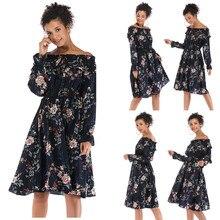 Moda señoras Vintage elegante vestido de manga larga cuello Slash estampado flor envuelto pecho vestido Casual vestido suelto Vestidos #2935