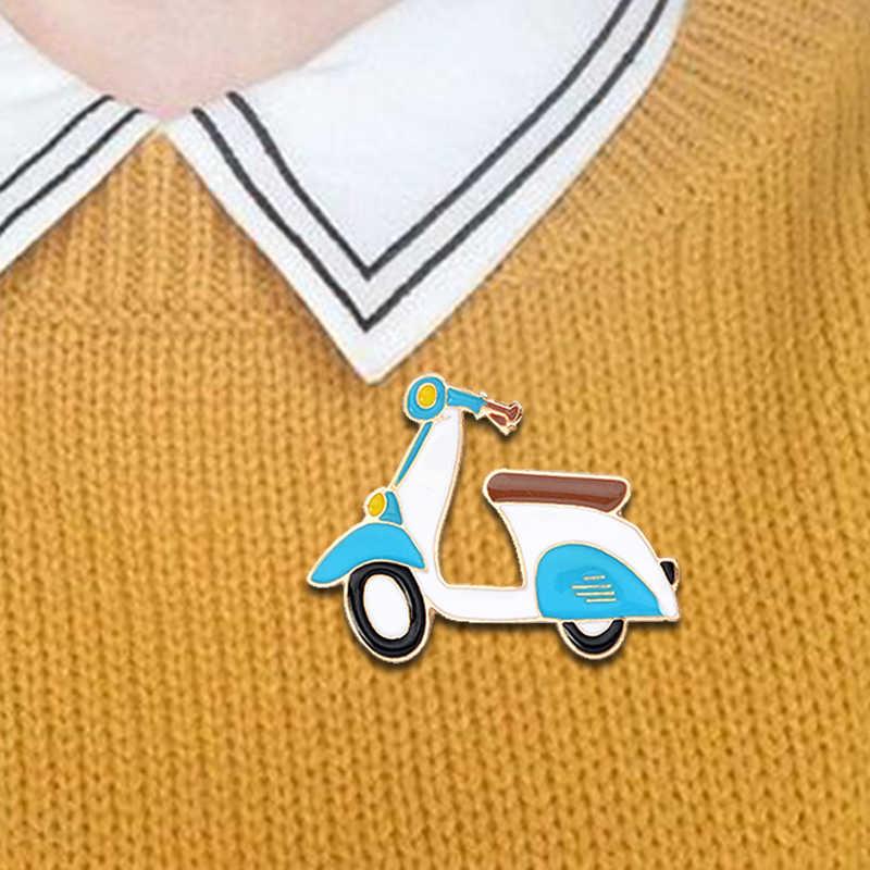Blue Electric Kendaraan Lalu Lintas Bentuk Bros! Harian Perlengkapan Logam Yang Indah Ransel Kemeja Mantel Lencana untuk Teman Keluarga Liburan