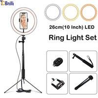 TCBrilli 10 Inchs Photography LED Light Tripod Ring Lamp Set Outube Video Live 3300 5500k Photo Studio 60 Inch Selfie Stick