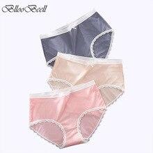 3pcs Hot Plus Size Women Underwear Sexy Lace Briefs Ice Silk Women's High Waist Panties Solid Color Ladies Lingerie Cotton 4XL