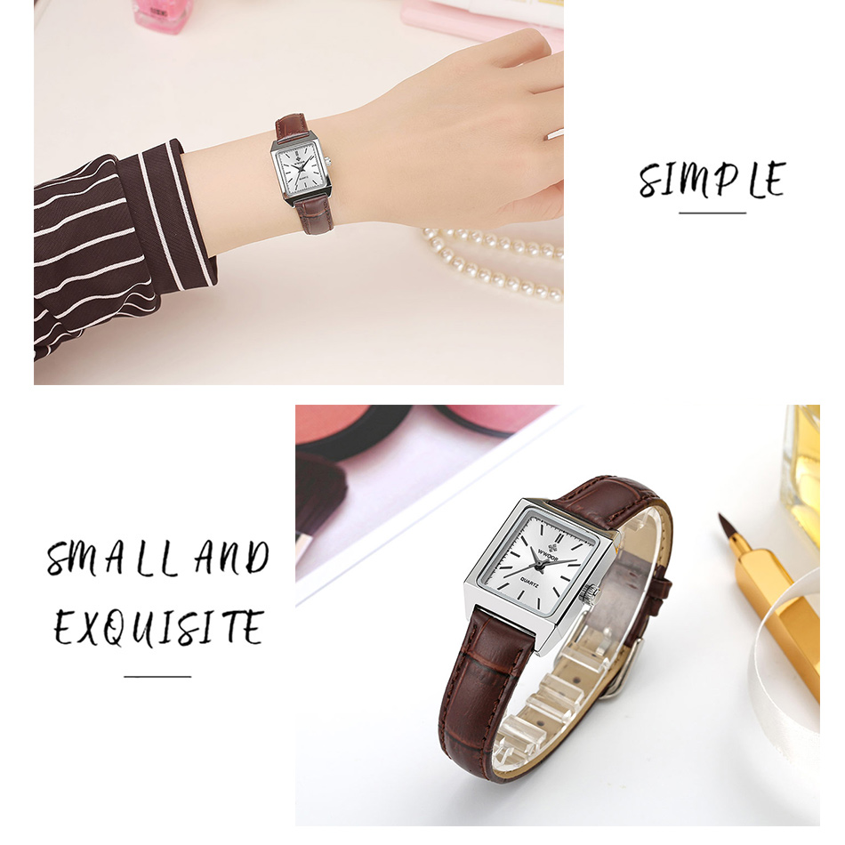 2020 WWOOR Top Brand Luxury Women Square Watches xfcs Genuine Leather Quartz Small Dial Wrist Watch Gifts For Women Montre Femme