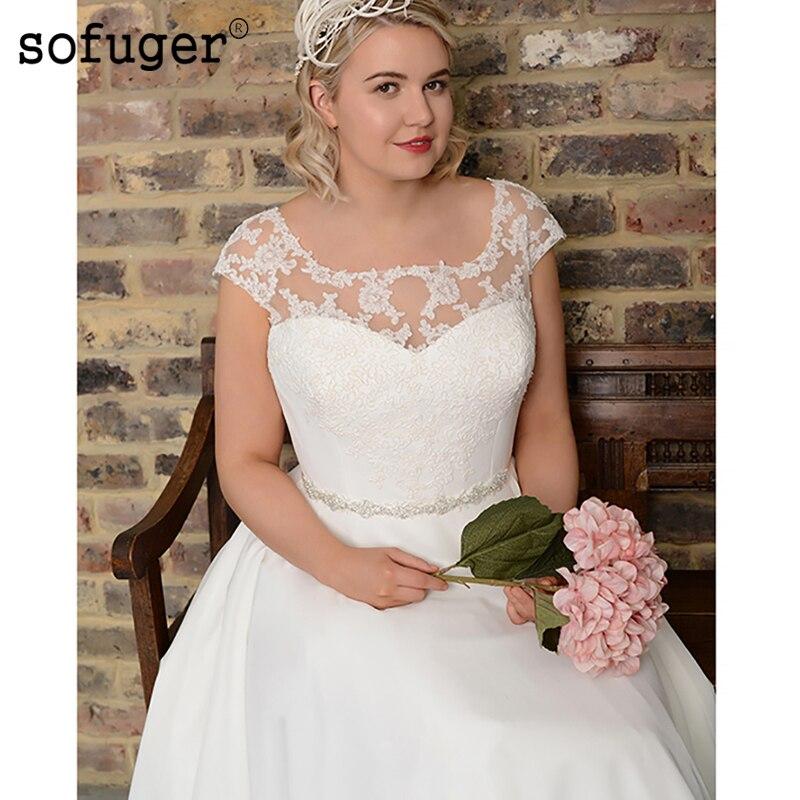 Plus Size Ivory White Chiffon Wedding Dress Beads Lace Appliques Scoop Robe De Mariee Sofuge Dubai Arabic Abiti Da Sposa