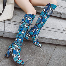 EUR 35-43 Women Sexy Winter Boots Knee High Heel Snake Pattern Long Chelsea Party Pumps Warm Oxfords Night Club Ri