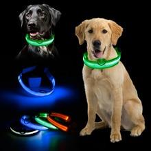 Горячая мигающий светящийся драгоценный камень светодиодный светильник товары для собак свет ошейник для собак Регулируемый маленький питомец светящийся ошейник безопасности