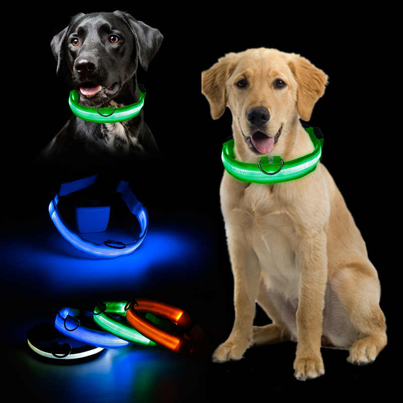Vendita calda Lampeggiante Incandescente Gemma di Luce LED Forniture di Prodotti Del Cane Luce Pet Collare di Cane Collare di Sicurezza Regolabile Piccolo Animale Domestico Luminoso