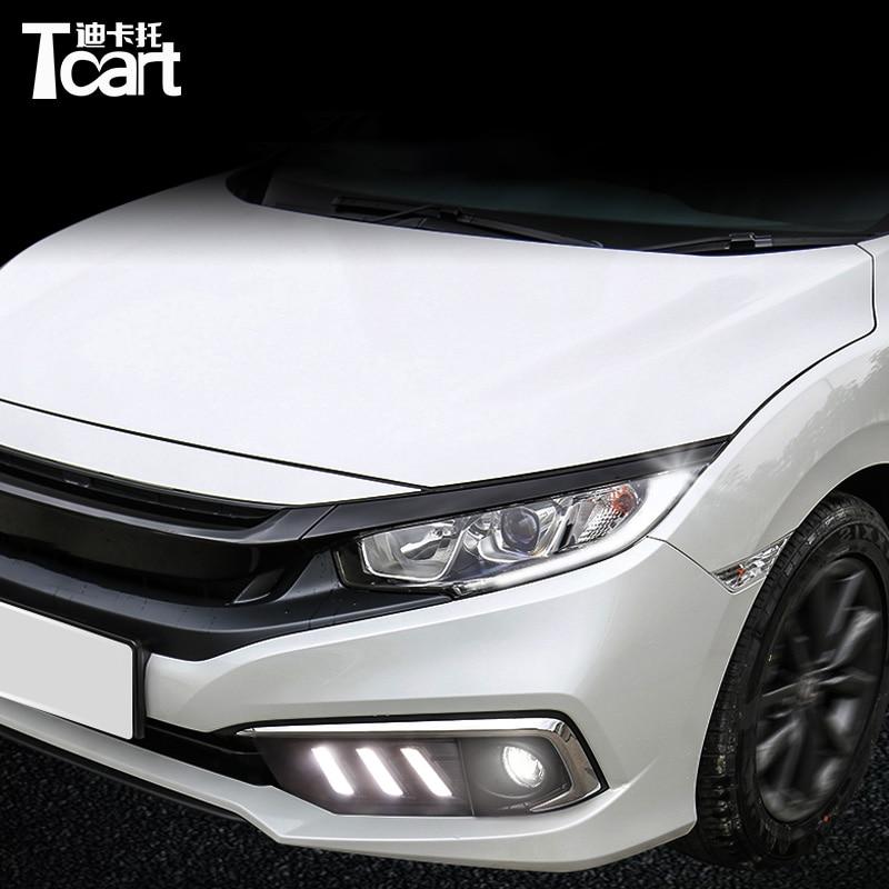 Tcart 2 шт. светодиодный автомобильный drl лампа для honda civic дневной ходовой светильник аксессуары 2019 2020 светодиодный DRL Поворотный Светильник дл