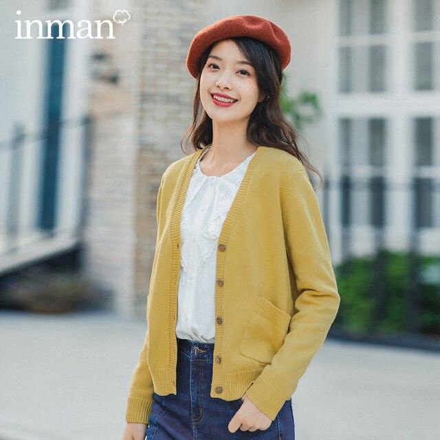 Xã Inman Mùa Xuân 2020 Hàng Mới Về Văn Học Đồng Màu Cổ V Điện Đơn Giày Lười Phong Cách Nữ Đan Cardigan