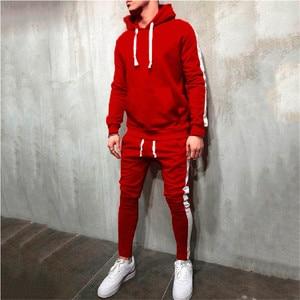 Image 5 - חם אופנה גברים ריצה סט 2Pcs לנשימה ספורט חליפות אימונית זכר כושר ספורט היפ הופ נים חולצות 3XL