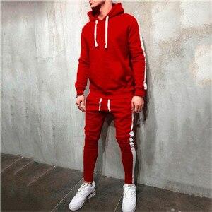 Image 5 - Hot Fashion Men Running Set 2Pcs Breathable Sport Suits Tracksuit Male Gym Sportswear Hip Hop Hoodies Sweatshirts 3XL