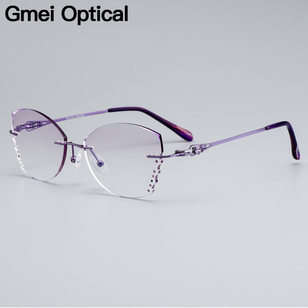 Gmei Optical Stylish Alloy Women Rimless Glasses Frame With Diamond Trimming Cut Gradient Purple Tinted Plano Lenses Z2870