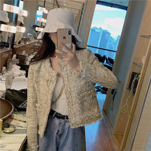 Winter tweed Wool Women Blazer loose Oversized Tassel Fashion Plaid runway jackets Coat Casual Thin Blazers Ladies Outerwear 089(China)