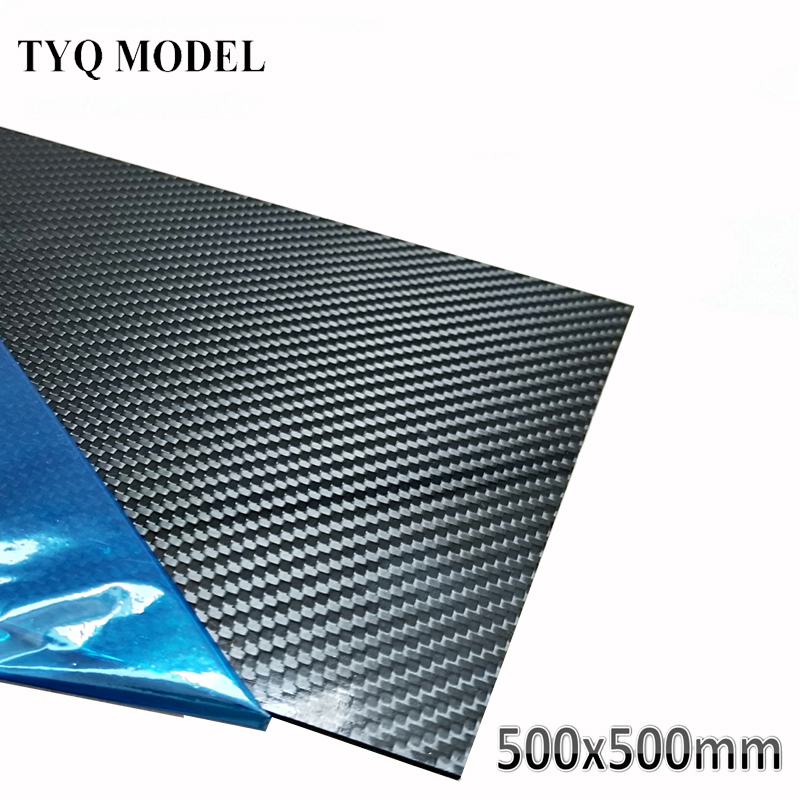 500x500mm Carbon Fiber Plate 0.5mm 1mm 2mm 3mm 4mm 5mm Thickness Real 3K Panel Sheets High Composite Hardness Material For RC