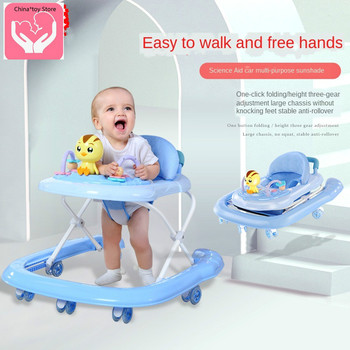New Cartoon Baby 7 Wheels Walker Anti-rollover Multi-function Folding Trolley Awning Help Cart Children Toy Car new design baby walker multifunctional music plate u type folding easy anti rollover safety scooter baby walkers portable carry