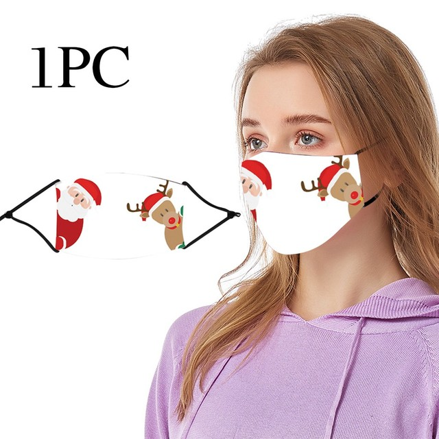 #25 1pc Chrismas Printing Adult Mask Protective Reusable Washable Comfortable Outdoor Dustproof Windproof Cycling Face Masks 1