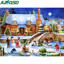 AZQSD Christmas Diamond Painting 5d Scenery Embroidery Landscape Picture Of Rhinestones Gift Needlework Home Decoration
