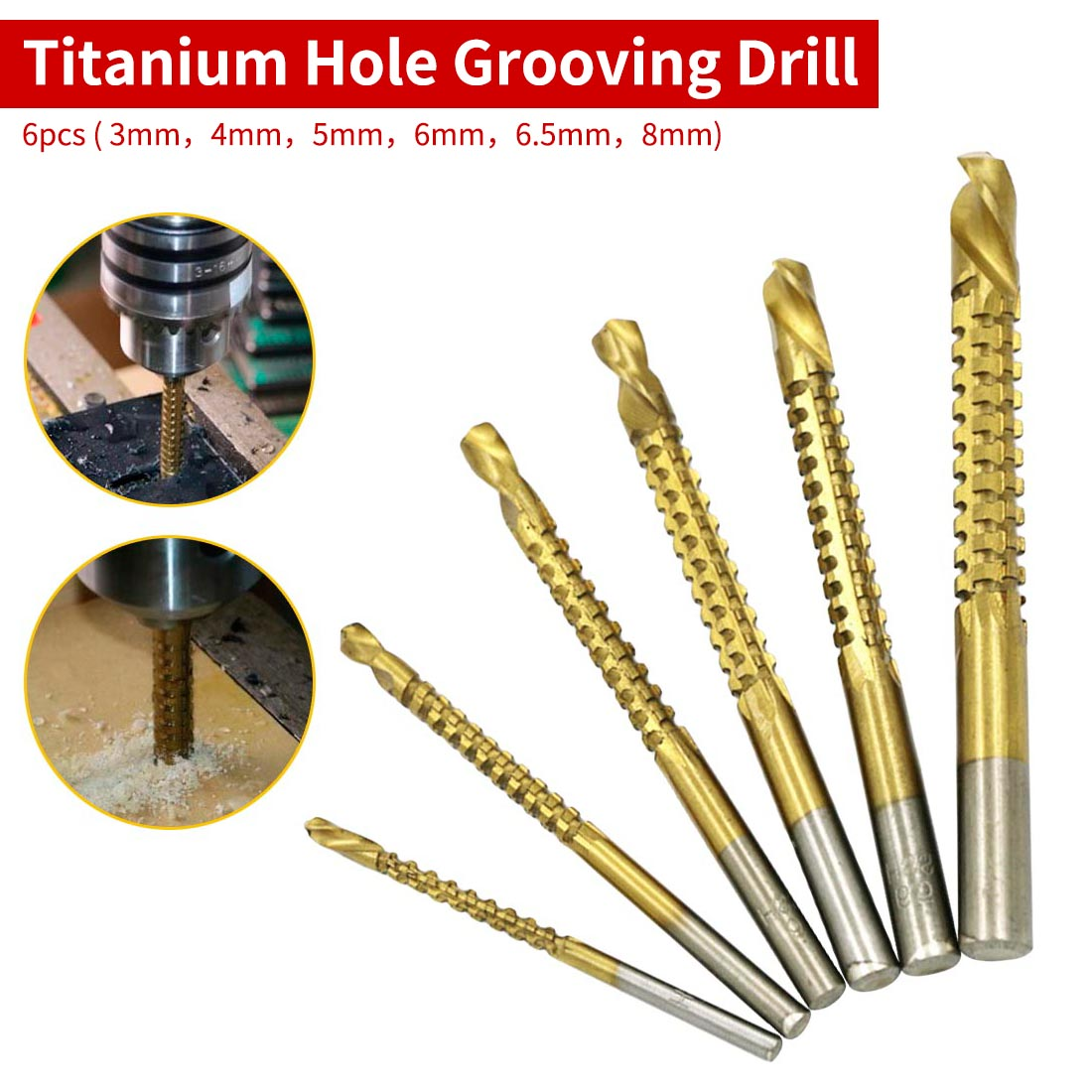 6pcs Hole Grooving Drill Bit Saw Carpenter Tool Titanium Coated HSS For Plastic Wood Woodworking Tool 3mm 4mm 5mm 6mm 6.5mm 8mm