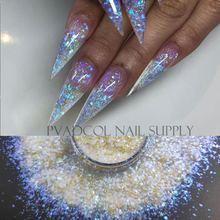 Блестки для дизайна ногтей синие объемные переливающиеся блестки