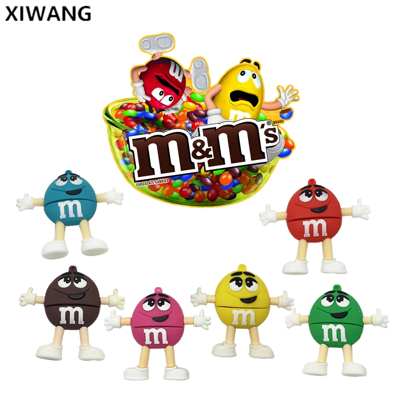 USB Flash Drive 128gb Cartoon M & M Chocolate Bean Usb 2.0 4GB 8GB Pendrive 16GB Pen Drive 32GB 64GB Usb Memory Stick Free Ship