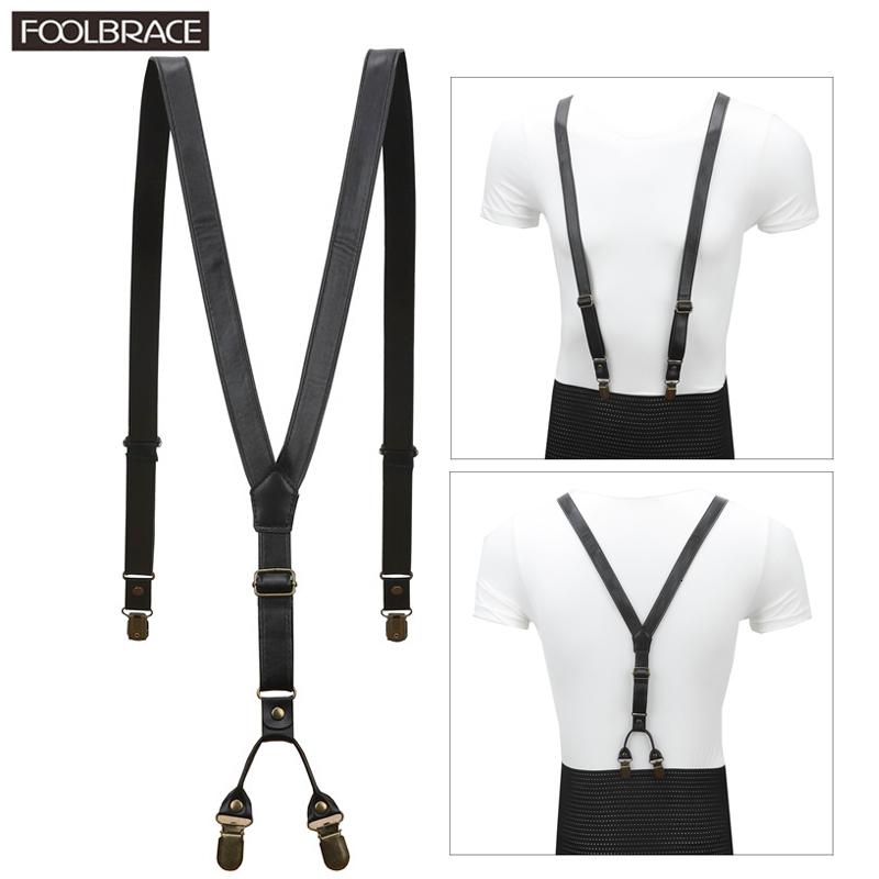 2cm Width PU Leather Men/Women Black Suspenders Belt Soft Leather Bronze Clip-on Braces Y Back