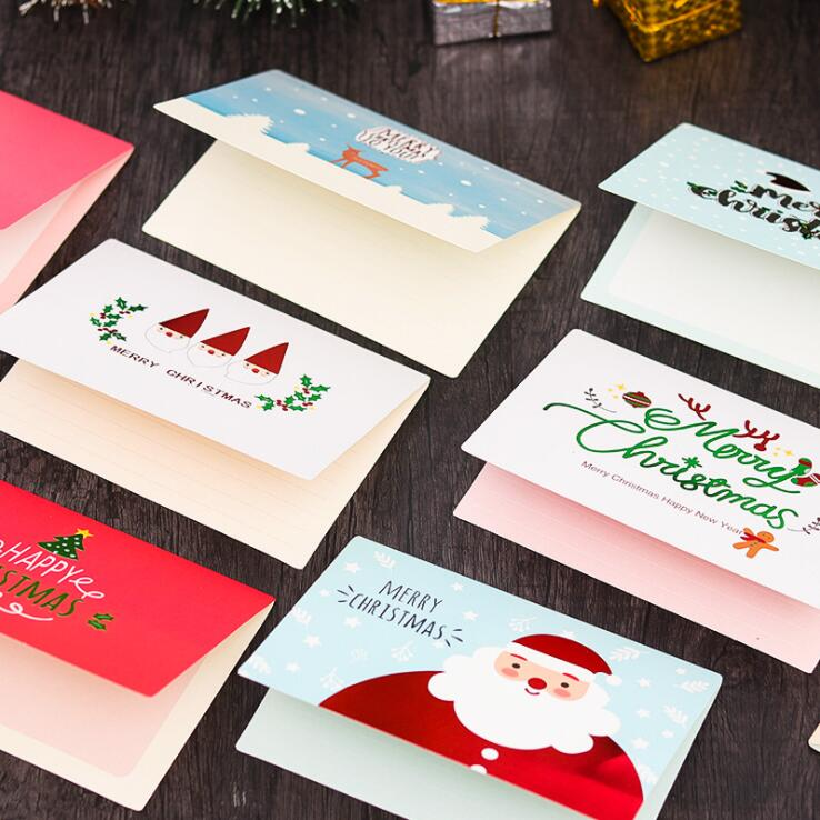 10pcs/lot Merry Christmas Day Thanksgiving Festival Gift Greeting Envelope Card Best Wishes Cards School Office Stationery