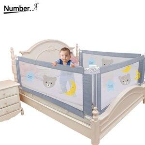 Image 2 - Kinderen Bed Barrière Hek Veiligheid Vangrail Security Opvouwbare Baby Thuis Kinderbox Op Bed Hekwerk Gate Wieg Verstelbare Kids Rails