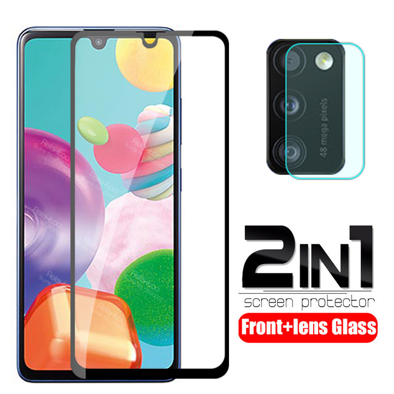 2 In 1 Protective Glass For Samsung Galaxy A41 A415F A 41 Camera Lens Screen Protector For Samsung A41 Glass Armor Tempered Film