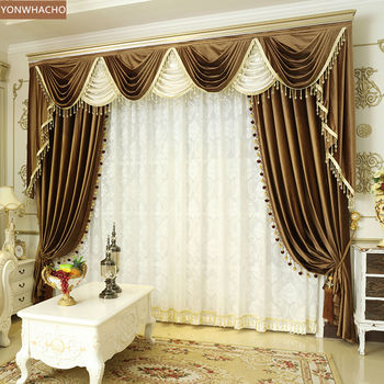 Custom curtain high-end luxury thick Italian velvet bedroom solid brown cloth blackout curtain tulle valance drapes B624