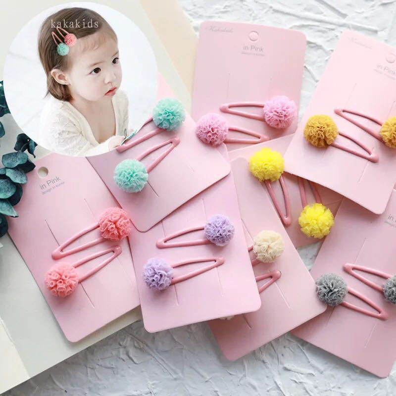 2 Pcs/Set Pompon Baby Hair Clips For Girls Snowball Candy ColorsHairpins Handmade Elegant bb Barrette Accessories Korea