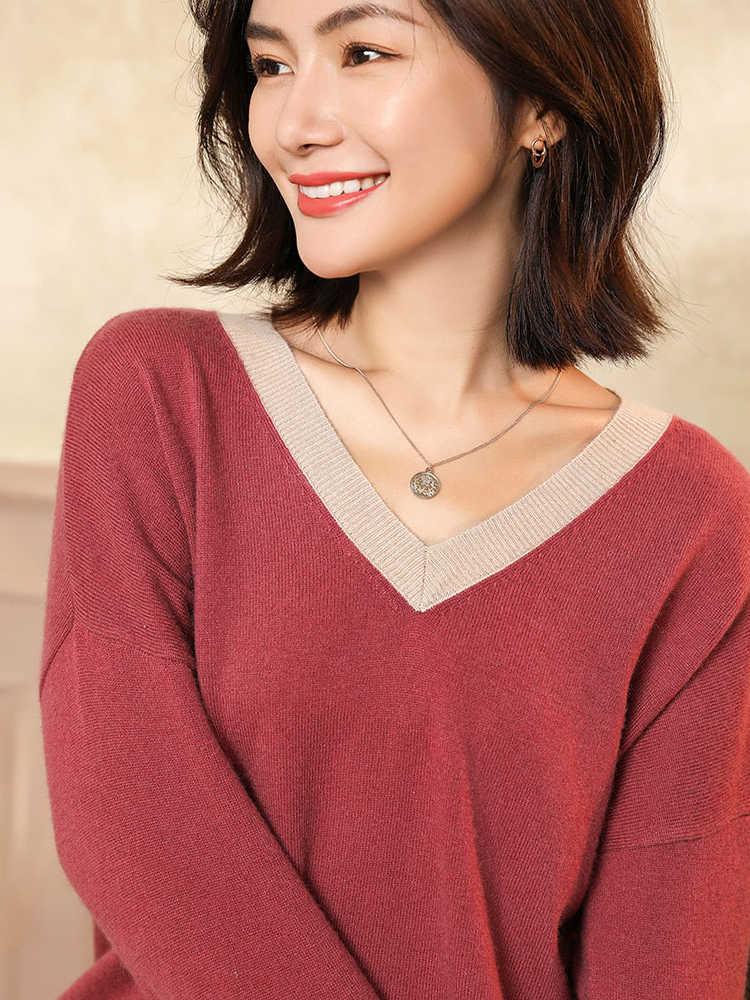 สไตล์หลวมเสื้อกันหนาวผู้หญิง 100% Cashmere ถัก Pullovers 2019 ใหม่แฟชั่นสุภาพสตรีจัมเปอร์ V คอเสื้อผ้า