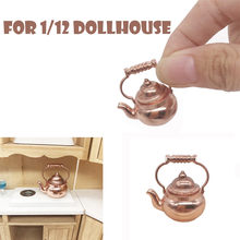 Retro Kettle Pot Open Lid Dollhouse Miniature Re-ment 1:12 Scale Fairy Home Gift Mini Kids toys Brinquedos Juguetes Accessories(China)