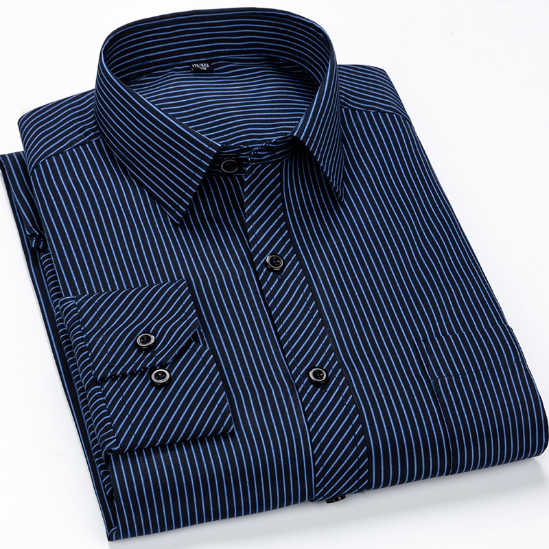Brand New Designer Shirts Blue Strip Camisa Social White Navy Classic Slim Fit Dress Foraml Man Shirt Korean Clothes Men 6XL 7XL
