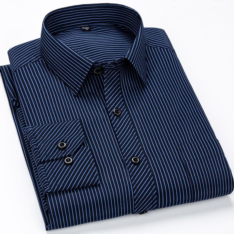Brand New Designer Shirts Blue Strip Camisa Social White Navy Classic Slim Fit Dress Foraml Man Shirt Korean Clothes Men 6XL 7XL