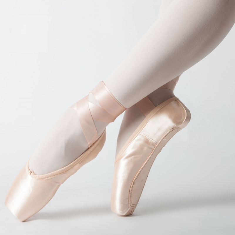 Satin Swan Dance Shoes Adult Canvas Female Pointe Shoe Performance Training Strappy Ballet Shoes Sports Toe Shoe