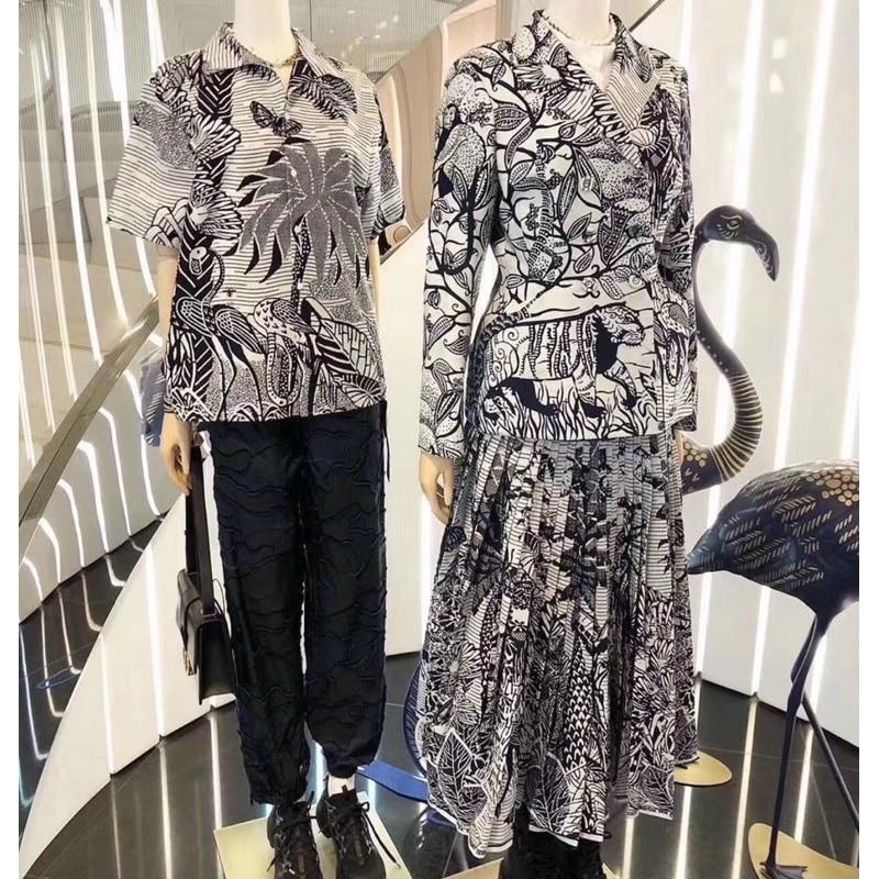 2020 Women Spring Blazer Skirt 2 Piece Set Long Sleeve Cotton Jacket Office Lady Flower Printing Skirt Pleated Midi Skirts Suit