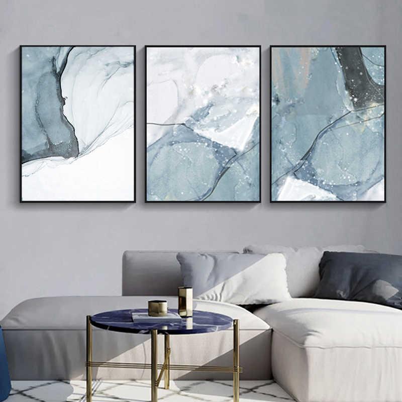 Abstrakte Marmor Leinwand Drucken Gemälde Licht Blau Poster Nordic