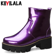 Kiiyilal Square High Heels Ankle Boots For Women Autumn Winter Shoes Woman Fashion Boots Zipper Womens Boots Botines Mujer 2019 mabaiwan suede ankle boots square toe zipper botines mujer high heels women pumps colorful lace short botas dress shoes woman