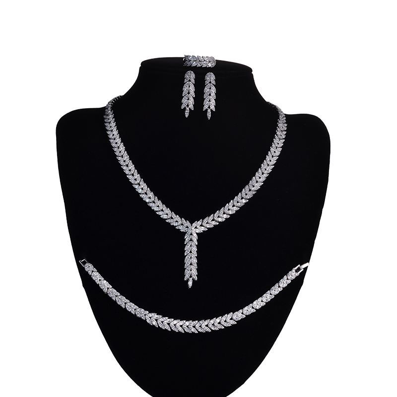 Jewelry Sets HADIYANA Simple Leaf Shapes Design For Women Party Elegant High Quality Cubic Zirconia CNY0042 Conjunto de joyas