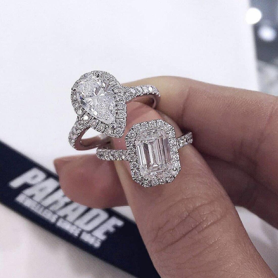 Mode S925 Sterling Silber Ringe Für Frauen Braut Hochzeit Platz 4ct Diamant ring Schmuck Engagement 18K Weiß Gold Anillos