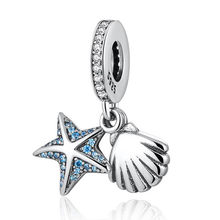 S925 Bead Starfish & Shell Dangle Charm fit Lady Bracelet Bangle DIY Jewelry Blue & Clear CZ