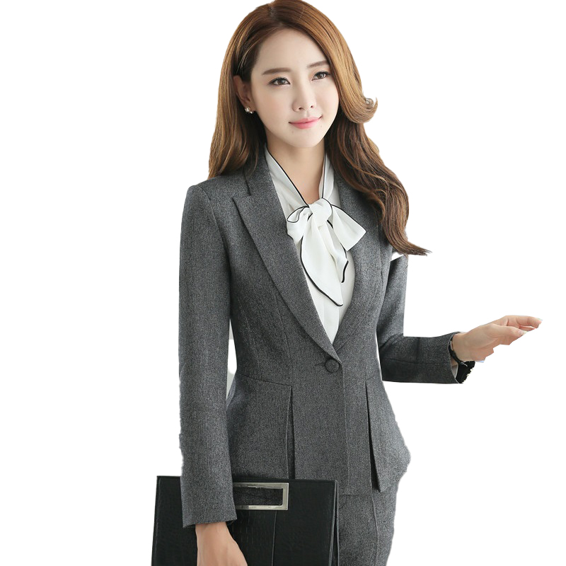 Spring Fall Ladies Grey Blazer Women Outerwear Jackets Work Wear Clothes Female Elegant Formal Office Work Wear OL Uniform Style