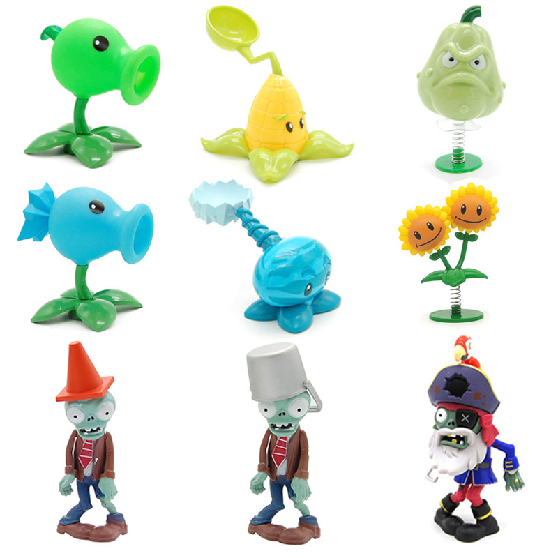 Plants vs Zombie 2 Conehead and Buckethead Zombie Play Game Map Model Collection Action Figure Hot Toy Gift for Children image